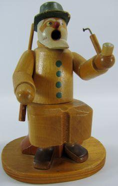 "Vintage German Erzgebirge Hand Carved Smoker Incense Burner Hunter 5.5"" Tall. Love his character! SOLD"