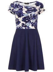 Blue floral 2in1 dress
