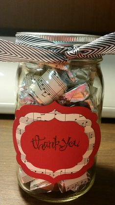 Thank you gift for music teacher, dsp wrapped hershey nuggets in a mason jar