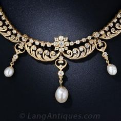 Antique Diamond and Pearl Necklace - Everything - Vintage Jewelry