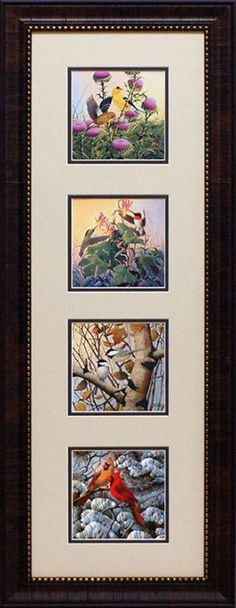 Early Arrivals by artist Derk Hansen is a really lovely four square wholesale framed art print celebrating the four seasons and the birds who we commonly see. Spring features gorgeous goldfinches feeding atop thistle flowers; Summer features delicate colorful hummingbirds sipping nectar out of trumpet shaped flowers; Autumn features black capped chickadees sitting amidst fall foliage on a birch tree limb and Winter features a male and female cardinal perched on the snowy branches of a pine… Black Capped Chickadee, Hansen Is, Thistle Flower, Goldfinch, Four Seasons, Framed Art Prints, Four Square, Wildlife
