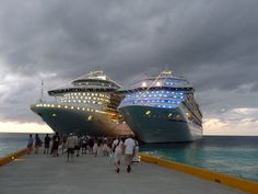 @Princess Cruises Emerald Princess and @Kristin McNaughton Cruise Lines Glory. Docked side-by-side in Grand Turk