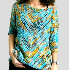 """""""Starry Night"""" Blouse ByKaterina - ByKaterina Crochet patterns Perfect for beginners. if you made a triangle scarf before you have to try this. Crochet Hook Sizes, Crochet Stitches, Crochet Hooks, Free Crochet, Knit Crochet, Stitch Patterns, Crochet Patterns, Triangle Scarf, Triangle Top"""