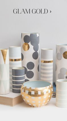 Jill Rosenwald handmade ceramic vases, lamps and trays. Painted patterns in chic colorways topped with gold edging. Pottery Painting Designs, Pottery Designs, Diy Crafts Hacks, Diy Home Crafts, Bottle Painting, Bottle Art, Vases Decor, Plant Decor, Painted Plant Pots