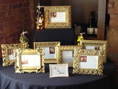 Meet the Maids table at #bridal shower - each bridesmaid submitted a photo with the #bride & wrote a story about memories with her