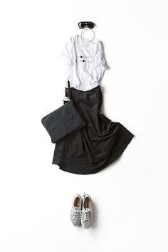 夏のTシャツと秋のスカート。 素材のコーディネートを楽しむ。 | kk-closet