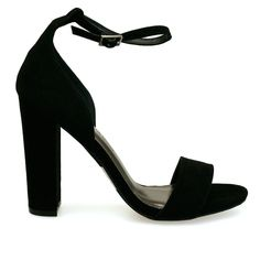 Morris-02 Black Ankle Cuff Thick Strap Open Toe Chunky Heels