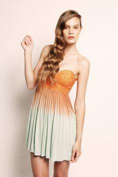 Crepe Dress - Orange and Green - $75.00