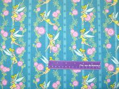 42 Wide Tinkerbell Flower Stripe Flannel by DaMommasTextiles