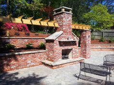 Outdoor stone stacked fireplace