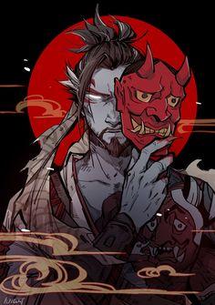 """night-cf: """" Demon Hanzo (I love this new skin! """" Genji Overwatch, Overwatch Fan Art, Oni Samurai, Samurai Tattoo, Arte Zombie, Character Art, Character Design, Hanzo Shimada, Arte Ninja"""