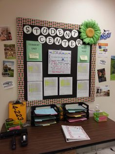 Love this idea of a student board for data. dry erase calender for events, and folders for students to turn papers in