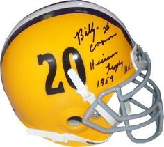a4bb240ef88 Billy Cannon signed LSU Tigers Vintage TB Schutt Mini Authentic Helmet w   dual Heisman Trophy