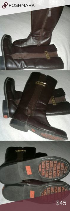 Girls Michael Kors Brown Leather Boots size 4M Excellent NWOT Condition  Brown Leather Michael Kors Girls Boots Measure 12 1/2 inches high and wothtapeeasure boot from heal to toe measires 9 1/2 inches in length and they have about a 1/2 inch back heel Great Pair Of Boots Michael Kors Shoes Boots
