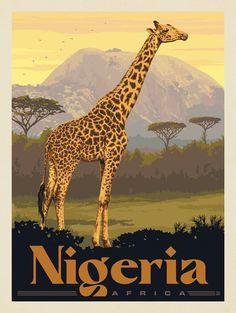 National Park Posters, Retro Art, Vintage Travel Posters, Illustration Art, Art Prints, Artwork, Nigeria Africa, Travel Wall, Bedroom Wall