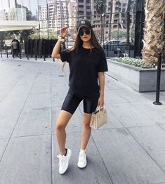 The hot trend of biker shorts is here to stay. Dressed down or dressed up, this trend is sweeping the fashion world. Take a look at some of my favorite ways to style these gems! Legging Outfits, Athleisure Outfits, Sporty Outfits, Cute Casual Outfits, Fashion Outfits, Style Fashion, Gym Outfits, Fitness Outfits, Fashion Clothes