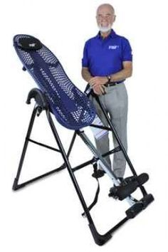 Roger Teeter with his amazing Teeter Hang Ups machine. Read my full review of the inversion table.