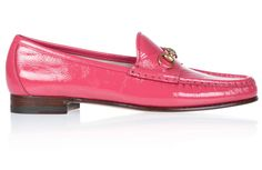 Gucci horse bit pink loafers.
