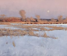Wilernie Moonrise - by Ben Bauer > It's been a while since I posted new paintings, this is a great one to start with this morning.  The brushwork on this piece, and others by Ben, is fabulous.