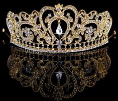 Leiothrix Baroco Style Fancy Alloy Golden Weeding Crown with Rhinestone for Bridal Women and Girls Apply to Weeding Party Performance >>> Find out more at the image link. #hairup