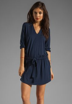MICHAEL STARS Justine 3/4 Sleeve Split Neck Drawstring Waist Dress in Night Sky at Revolve Clothing - Free Shipping!