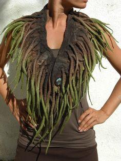 Hand-Felted Collar or Neckpiece 'Forest Fairy Queen'. $150.00, via Etsy.