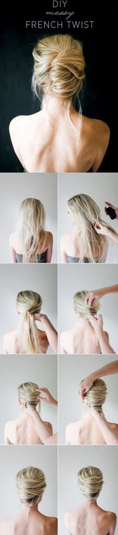Diy Messy French Roll #HairTutorials