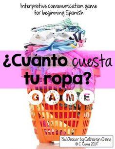 ¿Cuánto cuesta tu ropa? communicative game for beginning Spanish class. By Sol Azúcar