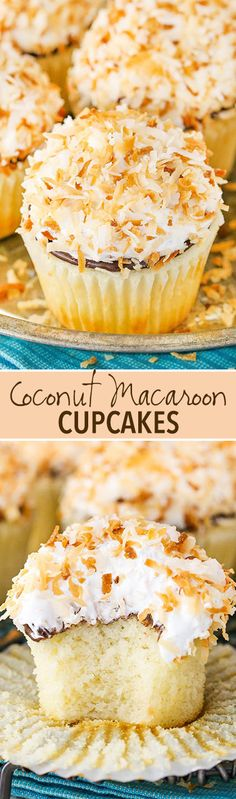 Full of coconut flavor with a coconut meringue frosti… Coconut Macaroon Cupcakes! Full of coconut flavor with a coconut meringue frosting! Coconut Desserts, Coconut Macaroons, Coconut Recipes, Just Desserts, Baking Recipes, Delicious Desserts, Dessert Recipes, Food Cakes, Cupcake Cakes