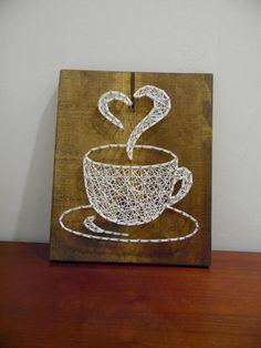 Coffee string art, coffee cup string art, string art coffee cup, coffee wall decor, coffee cup wall art, coffee wall string art, coffee cup