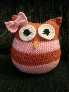 Crocheted Owl Pillow by PeacockHandcrafted on Etsy, $18.00