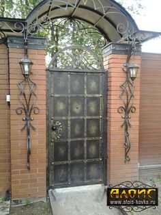 Shod gate and gates to order. Select by Shod gate and gates to order. Iron Gate Design, Fence Design, Door Design, Grill Gate, Wrought Iron Doors, Door Canopy, Iron Art, House Elevation, Decks And Porches