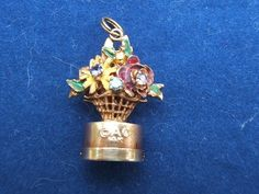 Yellow Gold Charm Enameled 3-D Flower Basket, lights up on the inside