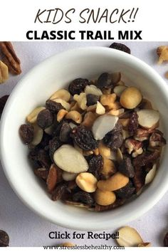 Classic Trail Mix Recipe | Healthy Vegan Snacks for Kids!! Healthy Kids Snacks For School, Healthy Vegan Snacks, Kid Snacks, Easy Snacks, Healthy Recipes, Trail Mix Ingredients, Trail Mix Recipes, Salty Foods, Easy Food To Make