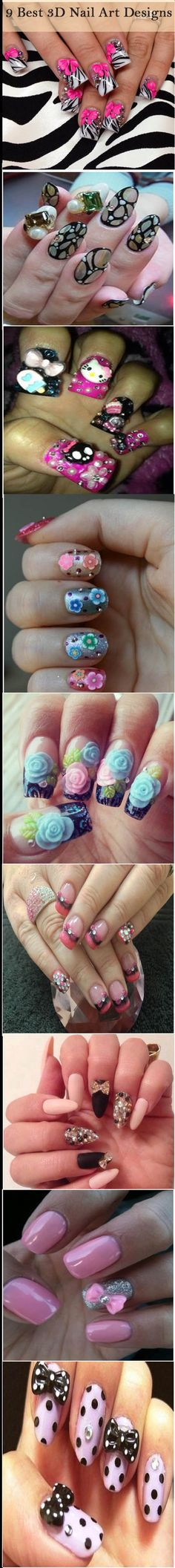 9 Best 3D Nail Art Designs   See more nail designs at http://www.nailsss.com/french-nails/2/