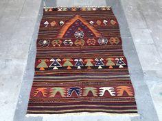 Super Fine Vintage Turkish Anatolian Kilim Rug, Distressed Konya Kilim Rug, Vibrant Colors, Geometric Design, Symetric Design by NotonlyRugs on Etsy