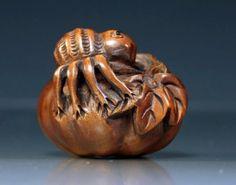 Signed Japanese Carved Wood Netsuke - Spider On Pumpkin