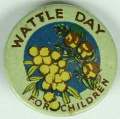 Badge - 'Wattle Day for Children', Australia, 1914-1918 - Museum Victoria