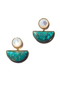 Surf Geometry Earrings by Lizzie Fortunato Resin Jewelry, Pearl Jewelry, Jewelry Art, Antique Jewelry, Jewelery, Jewelry Accessories, Handmade Jewelry, Jewelry Design, Gold Jewelry