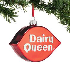 The Jolly Christmas Shop - Department 56 Dairy Queen Logo Glass Christmas Ornament 4045040, $12.99 (http://www.thejollychristmasshop.com/department-56-dairy-queen-logo-glass-christmas-ornament-4045040/)