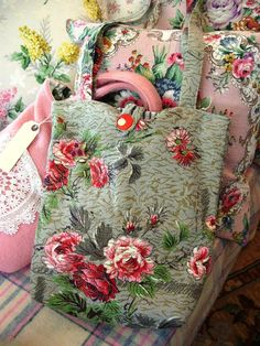 "vintage barkcloth from Nostalgia at The Stone House - My Creations-My favorite blog , love her book ""Living with Nostalgia"" , the best book ever on cottage style......."