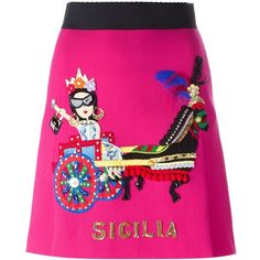 Dolce & Gabbana Carretto Siciliano patch skirt (50 125 UAH) ❤ liked on Polyvore featuring skirts, mini skirts, high waisted a line skirt, feather mini skirt, pink mini skirt, pink a line skirt and a-line skirt