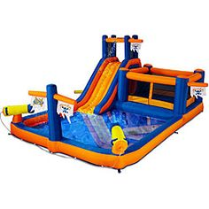 @Overstock - Enjoy time in the sun with this Pirate's Bay inflatable water park. This water playset combines an inflatable water park with a portable design and features a water slide, water cannons, crawl tunnel, bouncer and splash pool.http://www.overstock.com/Sports-Toys/Blast-Zone-Pirates-