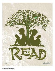 Reading Tree - 8x10 Art Print, Every Book An Adventure. $ 15.00, via Etsy.