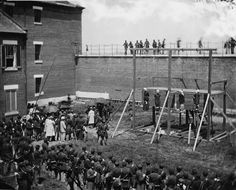 Mary Surratt and Others Hanged for Conspiracy July 7, 1865 Official photograph of the hanging of Mary Surratt, Lewis Payne, David Herold and Georg Atzerodt on July 7, 1865, convicted of conspiracy in the assassination of President Lincoln.