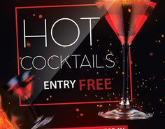 """Check out new work  """"Hot Cocktails FREE PSD Flyer Template"""" #hot #cocktails #event #party #club"""
