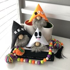Excited to share this item from my shop: Halloween Nordic Gnomes Diy Arts And Crafts, Fall Crafts, Holiday Crafts, Wood Bead Garland, Beaded Garland, Christmas Gnome, Diy Christmas Gifts, Christmas Ideas, Halloween Crafts