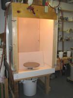 Spray booth designed by Tom turner, WITH A WATER FALL!