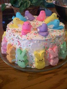 Peep Cake! An angel food cake with cool whip icing. Couldn't use this recipe, but cute way to decorate a dairy free version :)
