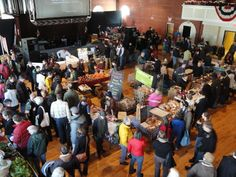 Indoor winter farmer's market at the Somerville Armory
